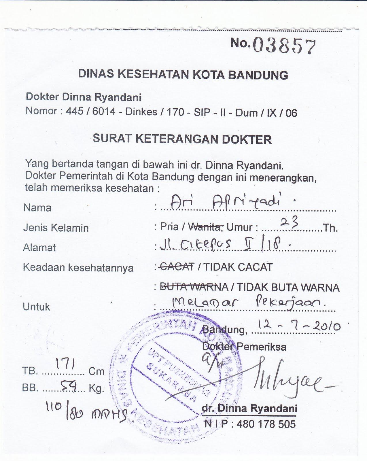 Surat Keterangan Dokter   Kotasurat.com
