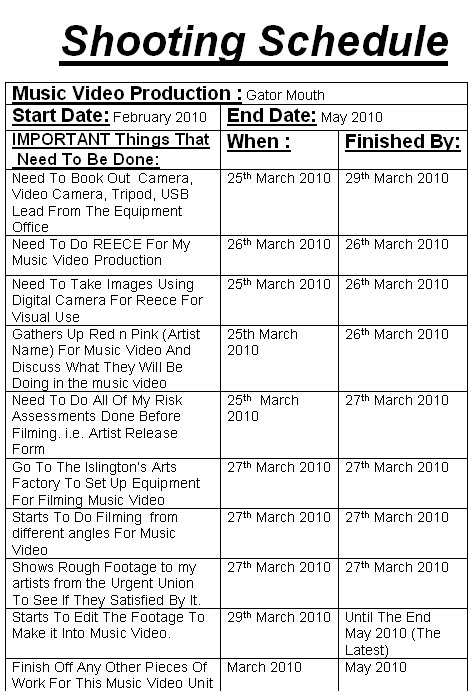 Music Production: Shooting Schedule For Music Video