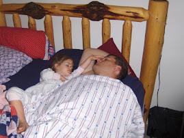 Aurora is enjoying having dad home,