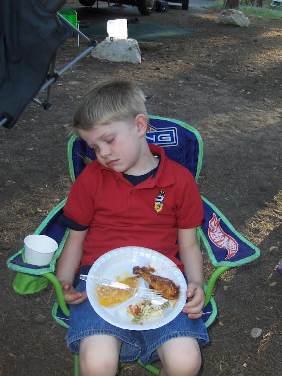 Rhett asleep with his dinner