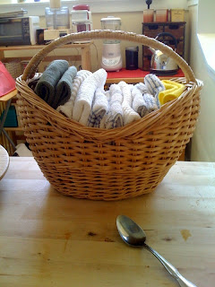 Reusable cloths in basket