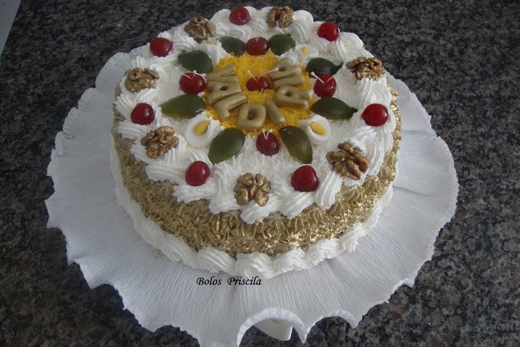 Visite a Bolos Priscila - Torta Bolo de Nozes com Babá-de-Moça de Leite Moça com Nozes picada