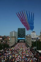 Red Arrows flying over Tyne Bridge at Great North Run