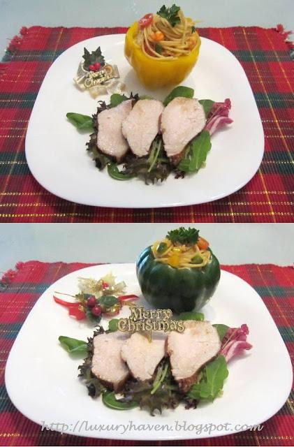 chilled earl grey pork loin, pasta capsicum cups
