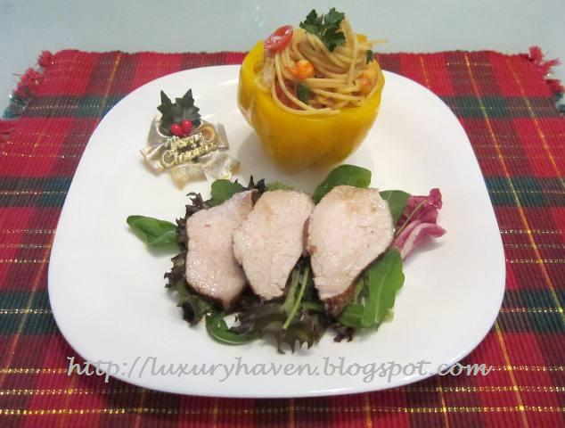 christmas earl grey pork with colourful wafu spaghetti