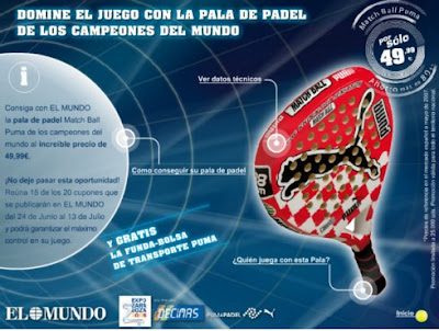 Promoción pala pádel Puma con el diario El Mundo