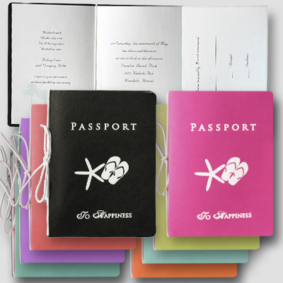 passport invitation by beach