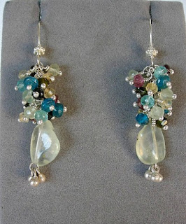 Carlotta's Prehnite drop with Tourmaline, Apatite, Citrine Gemstone Cluster drop Earrings