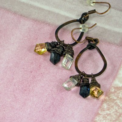 Funky Copper Dangly Hoops by SassyDLite - OWOH GiveAway Item
