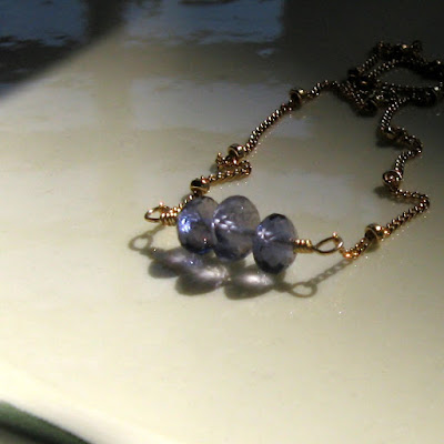 Leila Necklace - Iolite and 14k gold fill