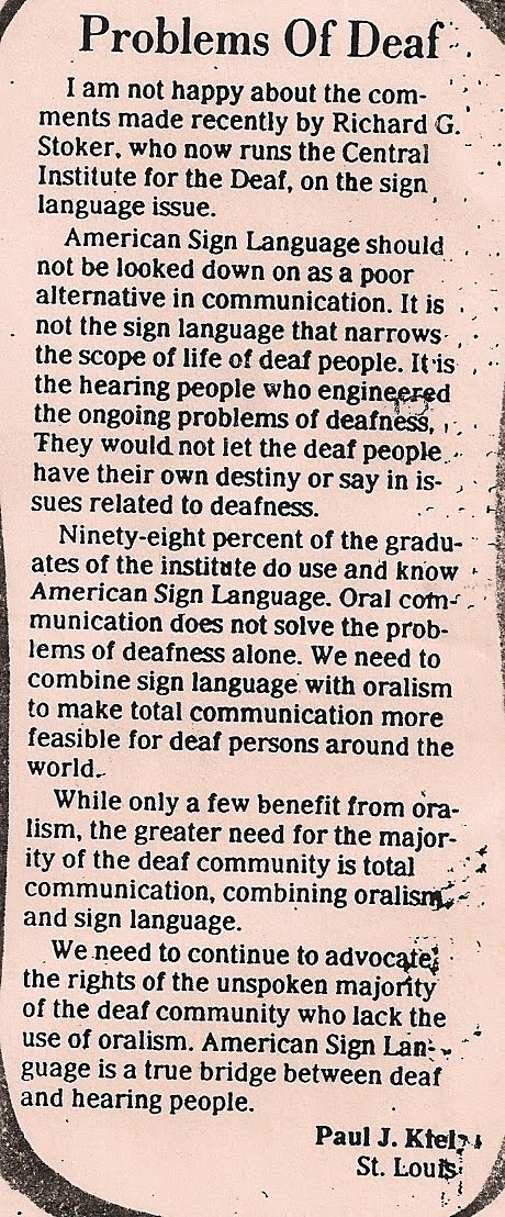 deaf issues Why parents of deaf children don't learn sign language keywords: deaf education information, deafness related issues, parenting submitted by: cassandra shaw and.