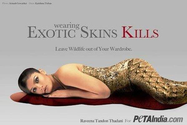 Raveena Tandon on the cover of beautiful PETA ad