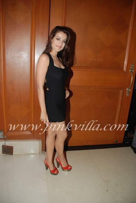 Amisha Patel in Black dress Showing her Sexy Legs @ the Power Film Mahurat