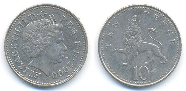 Monnaies actuelles du Royaume Uni ? UNITED+KINGDOM+Pence-Ten+%28Year+2000%29+%28Elizabeth+II%29