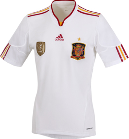 segunda equipación camiseta blanca selección española fútbol 2011 2012