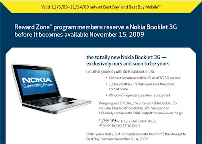 Official: Nokia Booklet 3G Parks at BestBuy on November 15