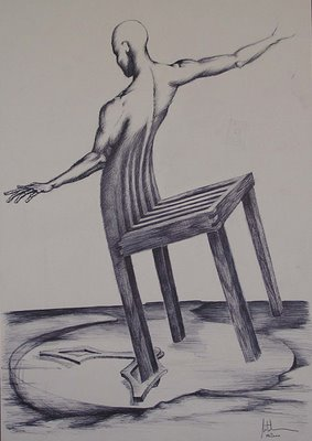 "Răzvan Mitulescu - ""Minotaur"", pix pe carton, 18x30 cm, Milano, 2001"