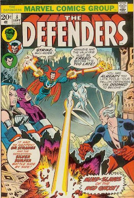 Defenders #8, the Defenders/Avengers War. Valkyrie's breasts boobs pose a threat to the whole of the American public