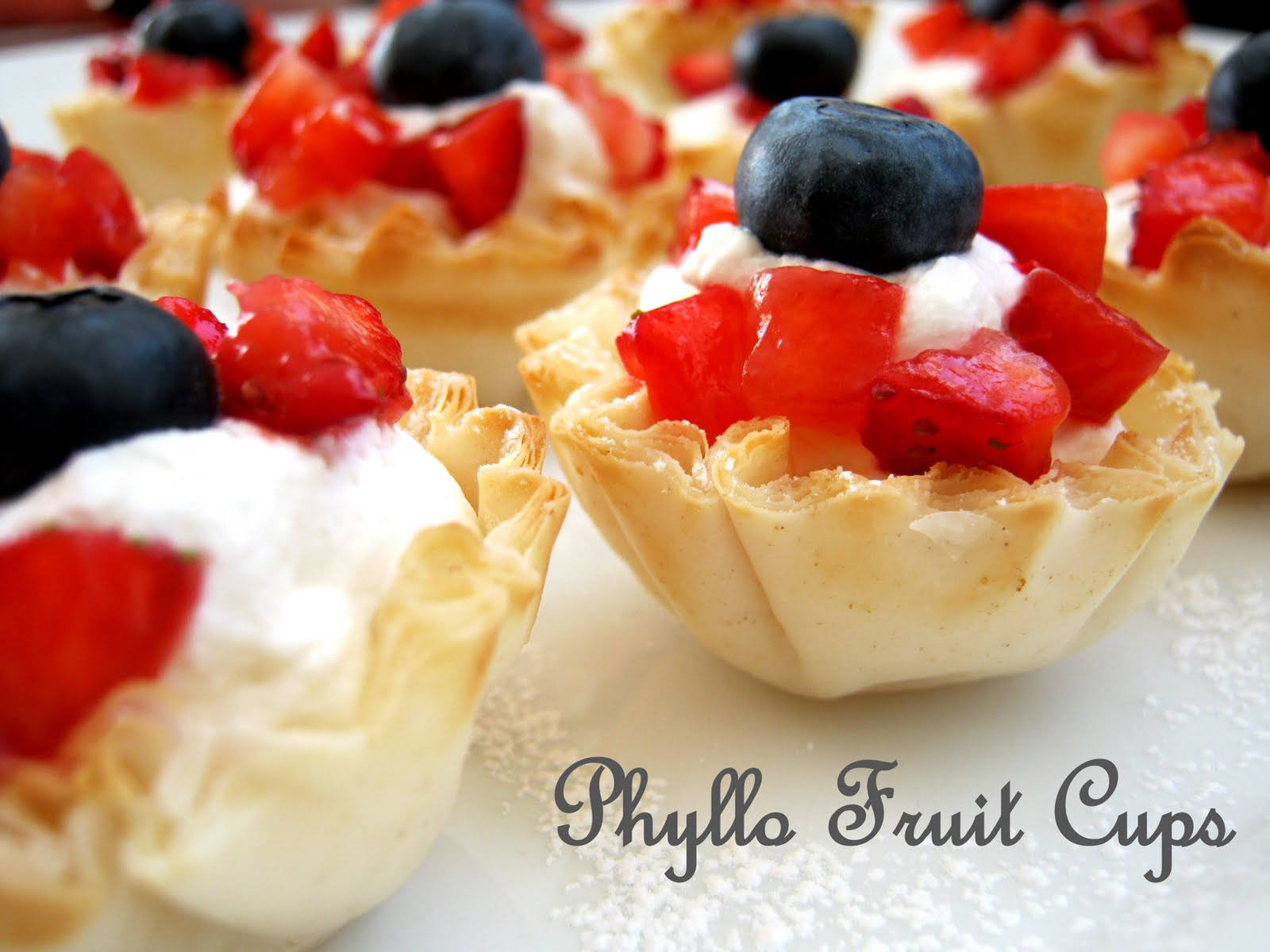 Superbowl Party Phyllo Fruit Cups With Homemade Whipped Cream