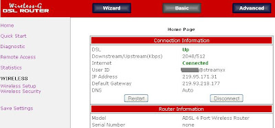 Aztech Router interface