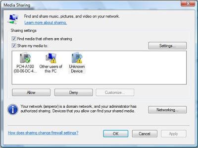 HDX 1000 WMP11 Media Sharing