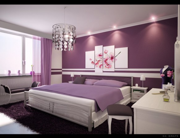 A104 (Girl, First Floor, Fourth room) Attractive-purple-bedroom-design-distinctively-feminine