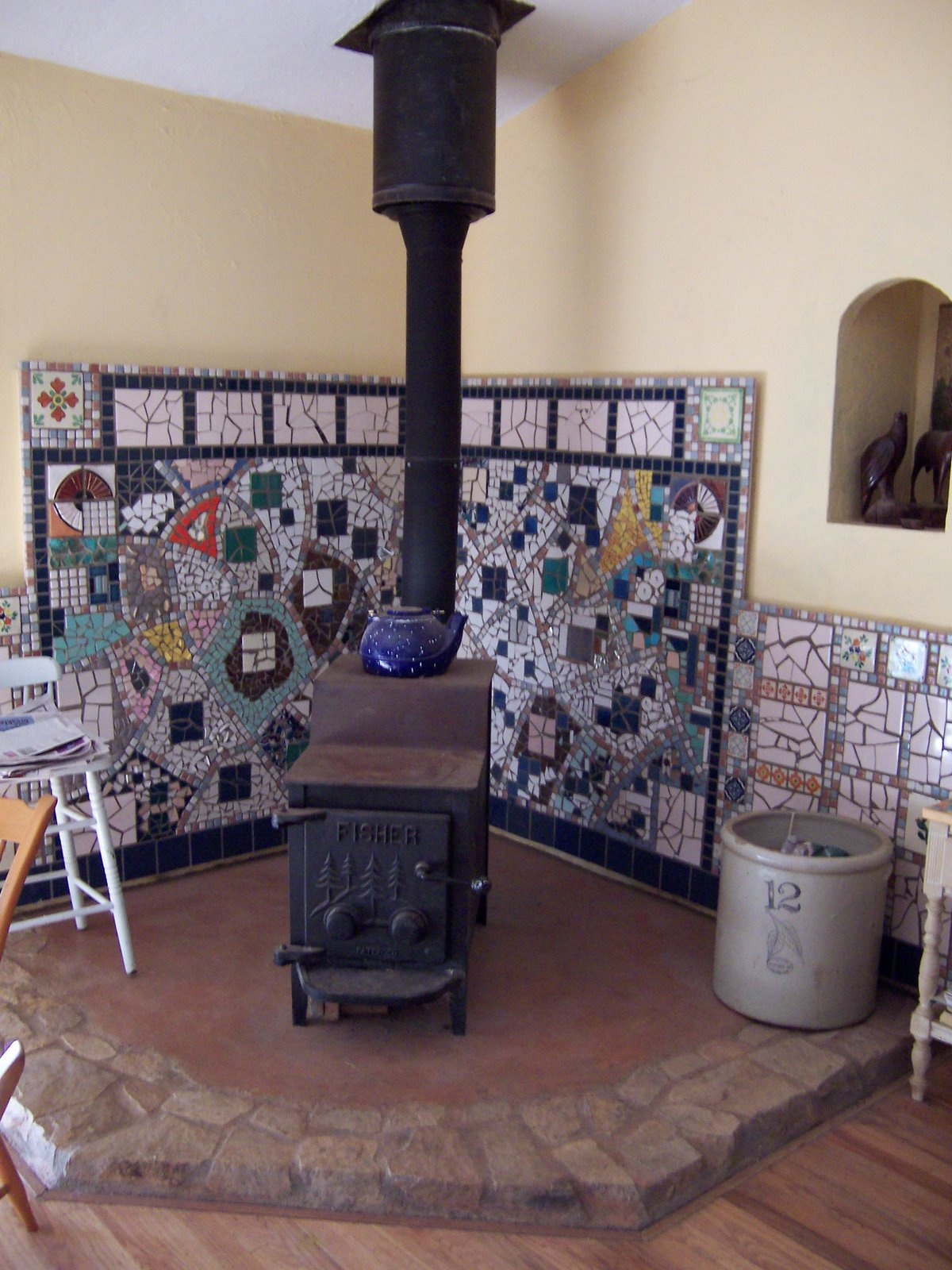 Mosaic Wood Stove Surround - Recy-Queen: Mosaic Wood Stove Surround