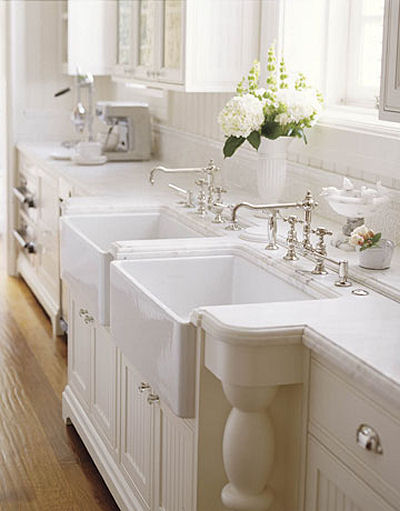White Double Kitchen Sink : huge fan of the wood counter tops on white cabinets because its ...