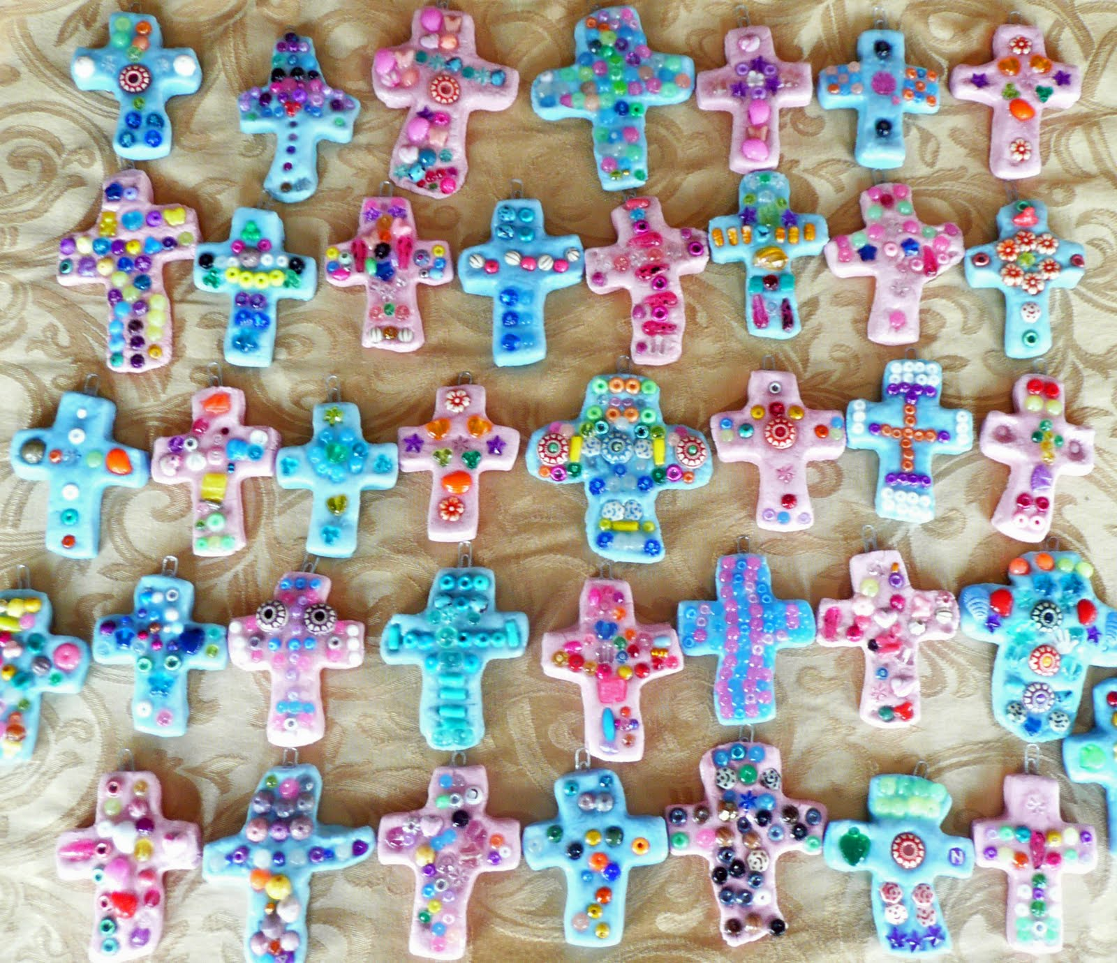 That artist woman bead and clay crosses for Cross craft for kids