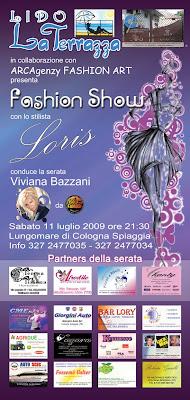 "Cologna Spiaggia. ""Fashion show"" serata moda firmata Loris Danesi. Presenta Viviana Bazzani."