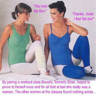 TG caption, Beverly joins a workout class