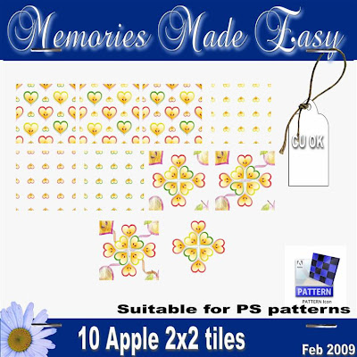 Spring Time Luv - 2x2 Tiles & PS7.0 Pattern file (Apple Hearts) PREVIEW