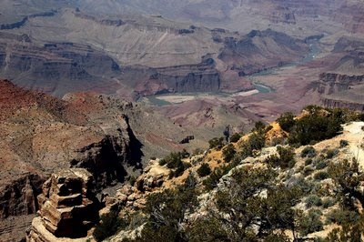 looking down at the Colorado River from the Desert View observation area