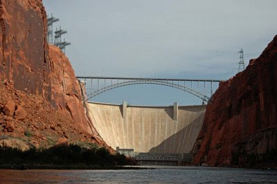 floating down the Colorado River and looking back at the dam