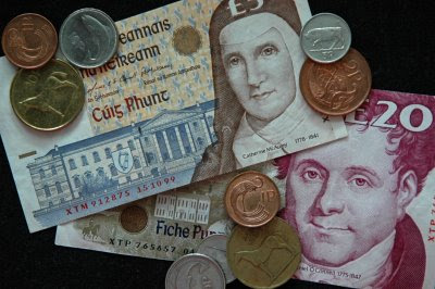 pocketful of Irish money, featuring Sister Catherine McAuley and Daniel O'Connell