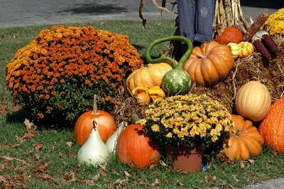 a fall display on the town square sets a cheerful tone