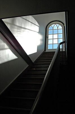 stairway leading to a roof window in the Centre Family Building