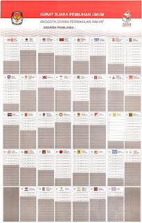 Contoh Surat Suara DPR Pemilu 2009