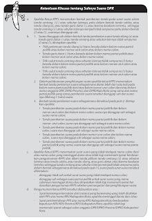 ketentuan khusus tentang sahnya surat suara dpr dan dprd