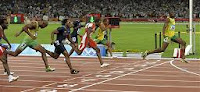 Usain Bolt wins the men's 100-meter final at the 2008 Olympics