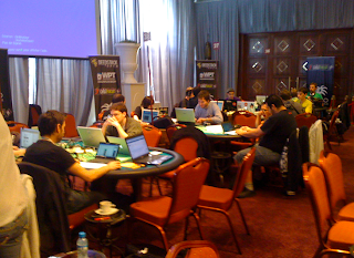 The media setting up for Day 2 at WPT Marrakech