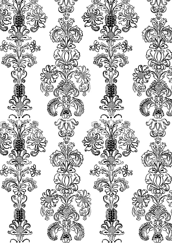 Black and white hand painted floral brocade wallpaper by Madeline Weinrib