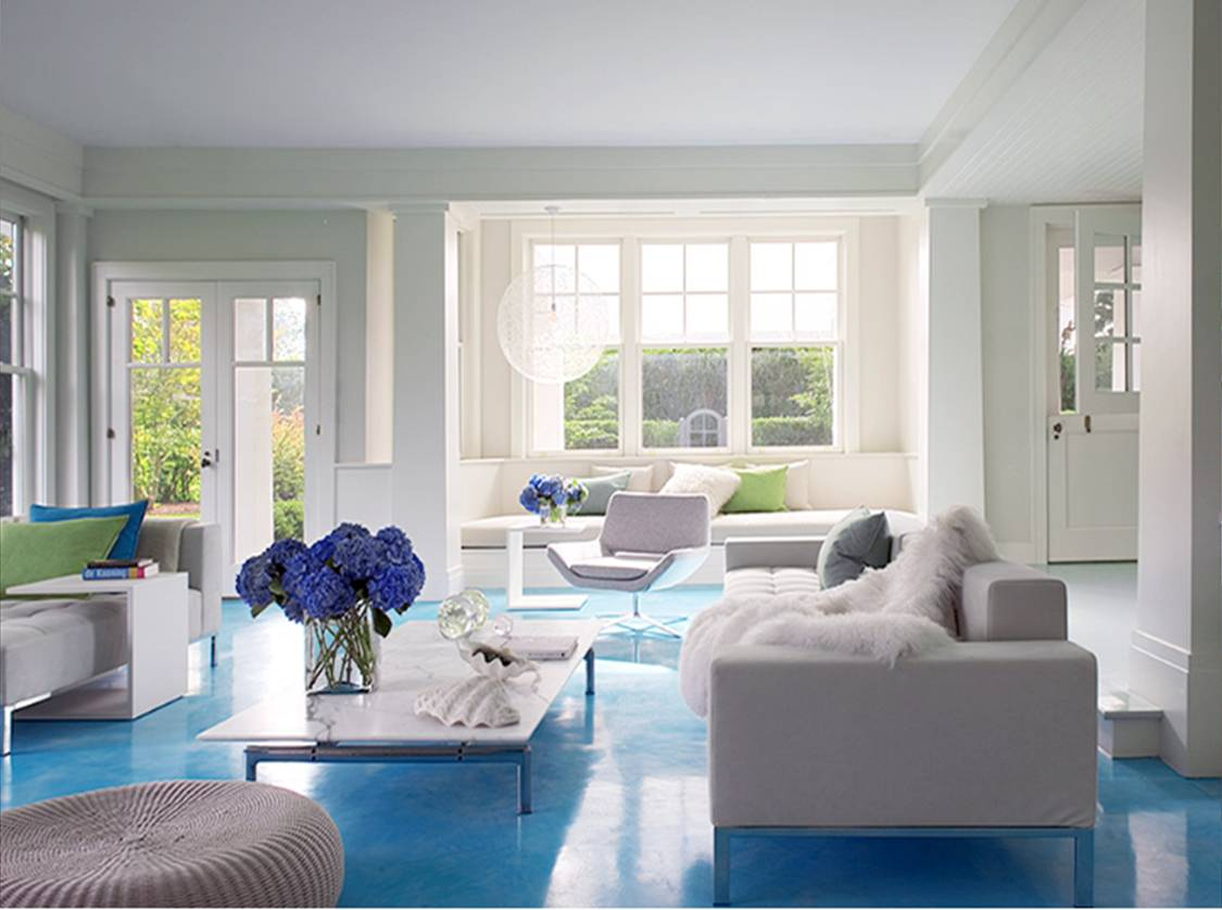 cute blue living room with blue color ideas in the floor