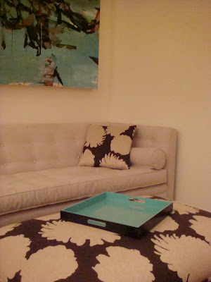 Close up of Jonathan Adler sofa in a NYC loft lounge