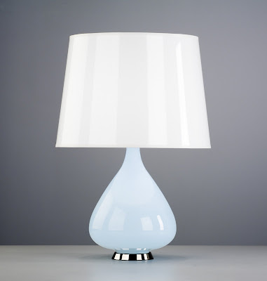 Color glass lamp with a tear drop base from Jonathan Adler