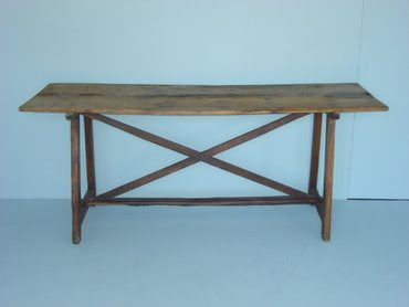 Rustic wood table from Mecox Gardens