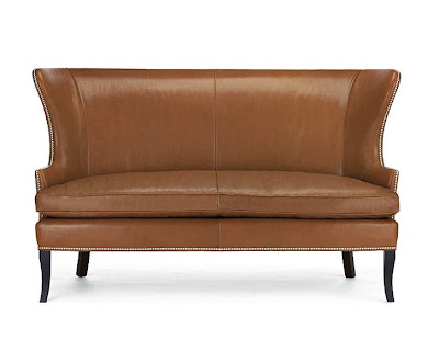 Leather settee with nail head trim from William Sonoma Home