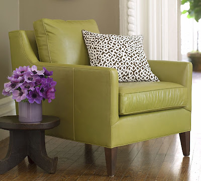 Green leather armchair from Pottery Barn