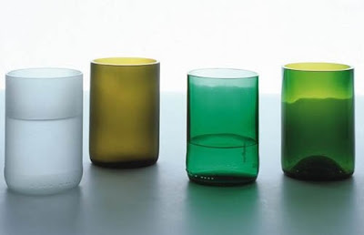 Green and clear drinking glasses by tranSglass from Zwello