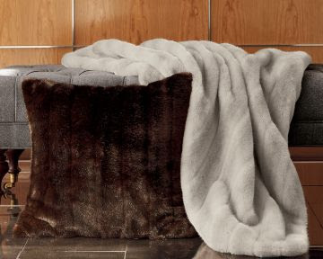 Grey faux fur throw from William Sonoma Home